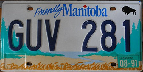 "Canada License Plate "" Friendly Manitoba"" with Blue Letters on White Backroun with Green Trees"