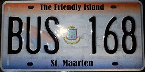 St. Maarten License Plate Black Letters on Red White and Purple Graphic Backround and Flag