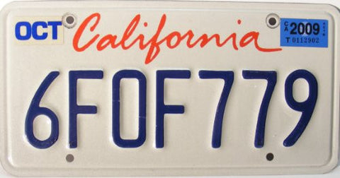 California Lipstick License Plate blue numbers on white