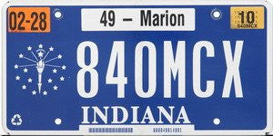 Indiana Stars and Torch License Plate white numbers on blue flat non-embossed
