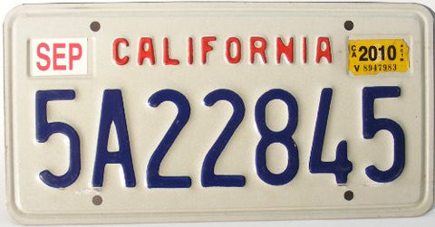 California License Plate blue numbers on white