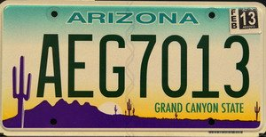 Arizona Grand Canyon State License Plate green numbers on green white yellow with Purple Desert flat non-embossed