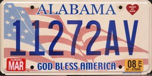 Alabama God Bless America License Plate Blue Numbers on American Flag Flat Non Embossed