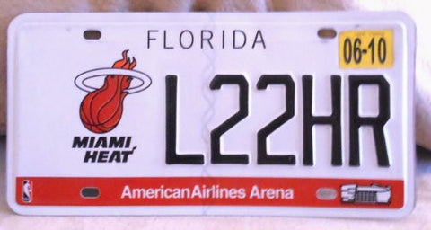 Florida Miami Heat license plate black numbers on white with American Airlines Arena and Miami Heat emblems