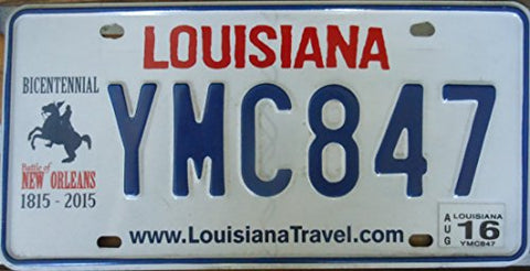 Louisiana State license plate Bicentennial blue letters on white backround