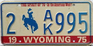 Wyoming Spirit of 76 License Plate blue numbers on white with Bucking Bronco