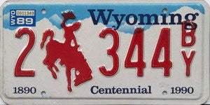 Wyoming Centennial License Plate red numbers on white with red bucking bronco and blue sky