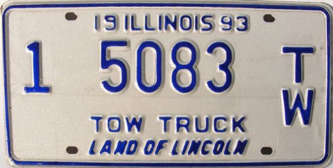 Illinois 1993 Tow Truck License Plate blue numbers on white