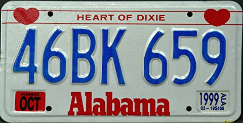 Alabama State License Plate with Blue Letters on White and Red Alabama Heart of Dixie Logo
