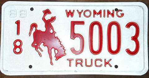 Wyoming Truck State License Plate with Red Bucking Bronco on White Backround