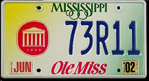 "Mississippi State License Plate ""Ole Miss Logo"" Red Letters and Blue Letters on Yellow White Green"