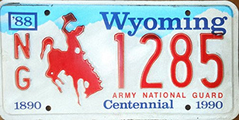 Wyoming State License Plate Army National Guard Centennial Red Letters Blue Sky and White Backround