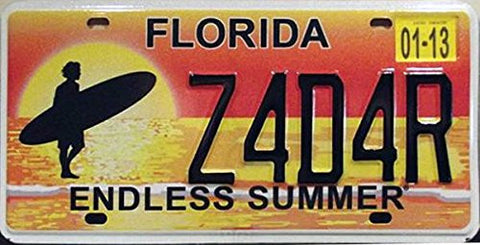 Florida Endless Summer State License Plate Black Letters on Yellow Orange Sunset with Beach and Surfer