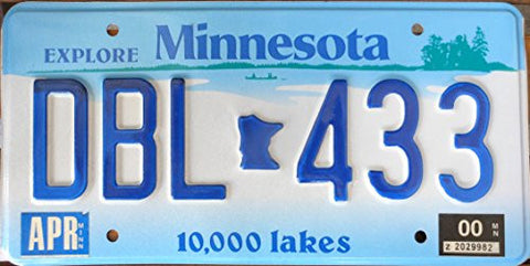 Minnesota State License Plate 10,000 Lakes Embossed with Blue Letters on White and Blue Backround