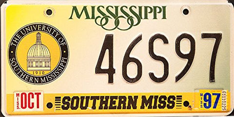 Mississippi State License Plate with Black Letters on White & University of Southern Mississippi Logo