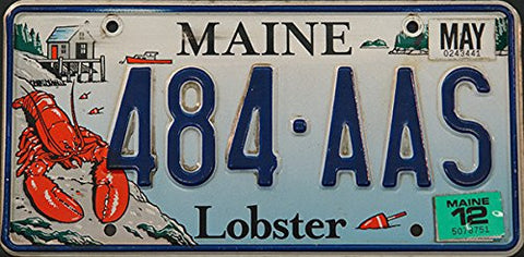 Maine State License Plate with Lobster Graphic and Blue Letters on Light Blue Ocean