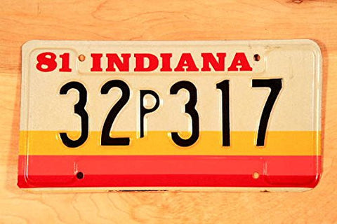 Indiana State License Plate Black Letters on Red, Creme,yellow & Orange Backround