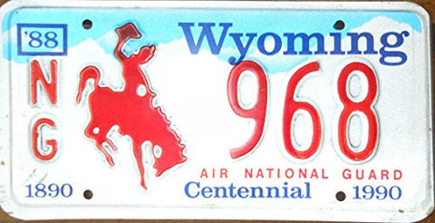 Wyoming State License Plate Air National Guard Centennial Red Letters Blue Sky and White Backround