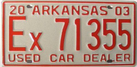 Arkansas Used Car Dealer License Plate red Numbers on white