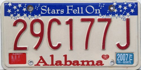 "Alabama State License Plate ""Stars Fell On"" Red Letters on White with White Stars on Blue Banner"