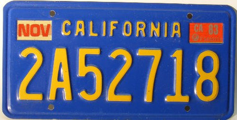 California Antique License Plate yellow numbers on blue