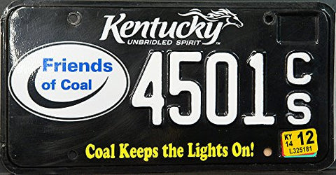 kentucky state license plate with friends of coal logo and white letters on black