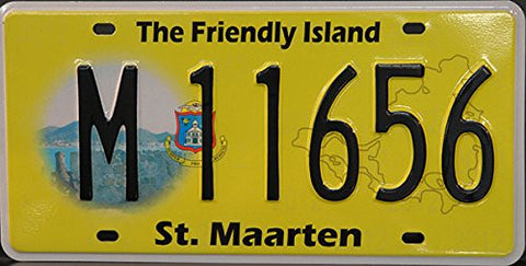 "St. Maarten License Plate ""Netherlands"" Black Letters on Yellow with Logo and Graphic"