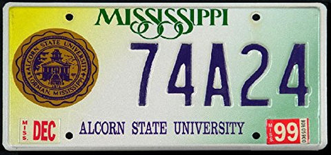 Mississippi State License Plate Alcorn State University with Logo and Dark Blue Letters on Yellow White and Green