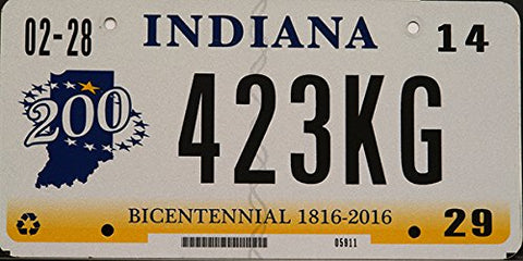 Indiana State License Plate Bicentennial with Black Letters on White