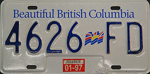 "British Columbia License Plate ""Canada"" with Blue Letters on White with Flag"