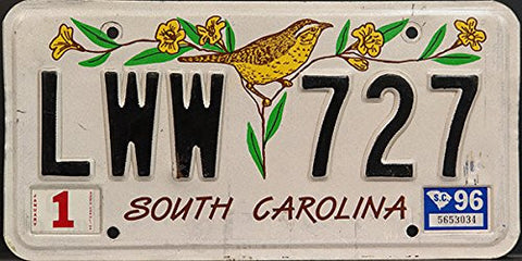South Carolina License Plate with Flower and Bird