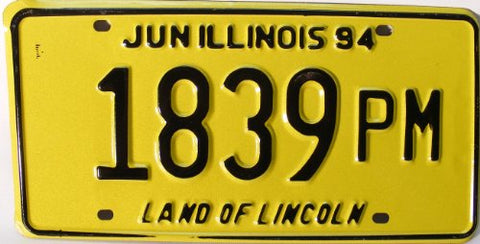 Illinois June 94 License Plate black numbers on yellow