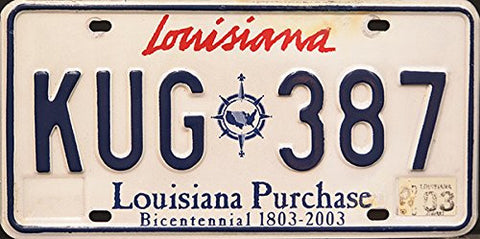 Louisiana State License Louisana Purchase Bicentennial Plate Blue Numbers on white