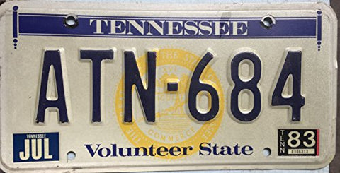 "Tennessee State License Plate""Volunteer State"""
