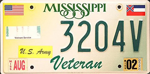 Mississippi Veteran State License Plate with Vietnam Service Sticker and Army Sticker, Green Letters on White