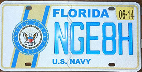 "Florida State License Plate with ""U.S. Navy Seal"" & Blue Letters on White Backround"