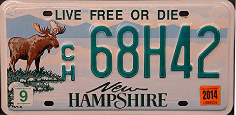 New Hampshire State License Plate Green Letters on Blue Backround with Graphic Moose