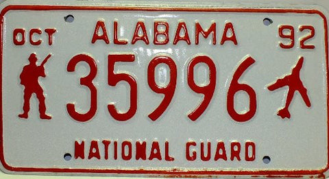 Alabama National Guard steel license plate 1992 red numbers on white with jet and guard