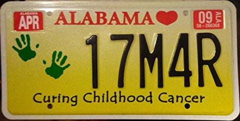 "Alabama State License Plate "" Curing Childhood Cancer"" With Black Letteres On Yellow Backround"