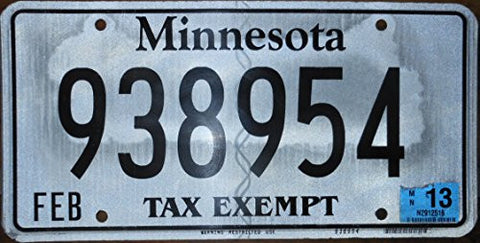 Minnesota State License Plate with Black Letters on Gray Backround and Some Discoloring
