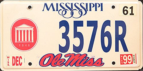 Mississippi State License Plate Blue Letters on White with Red Ole Miss Symbol