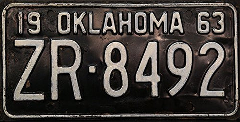 oklahoma state license plate non graphic with white letters on black 1963