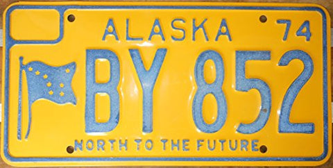 "Alaska State License Plate ""North to the Future"" with Blue Letters on Yellow Backround"