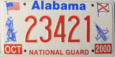 Alabama National Guard License Plate red numbers on white with blue jet and guard