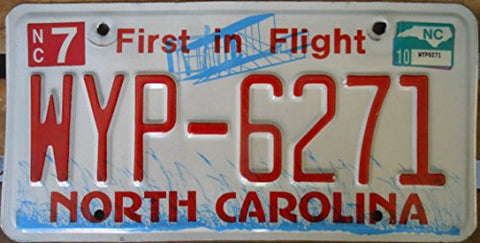 North Carolina First in Flight License Plate Red Letters