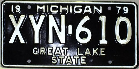 Michigan 1979 Great Lake State License Plate white numbers on black