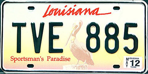 Louisiana State License Plate Sportsman's Paradise with Black Numbers on Yellow