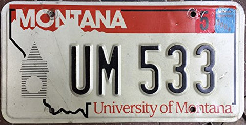 Montana State License Plate University Of