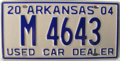 Arkansas Used Car Dealer License Plate Blue Numbers on light gray