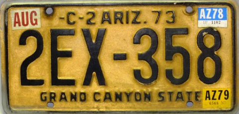 Arizona C-2 73 License Plate brown numbers on Yellow